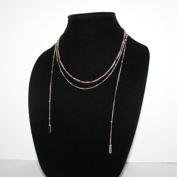 "Beautiful layered gold necklace 16-21"""